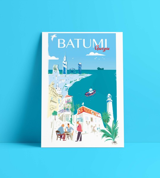 Batumi coast-A4 format poster By Geoposter